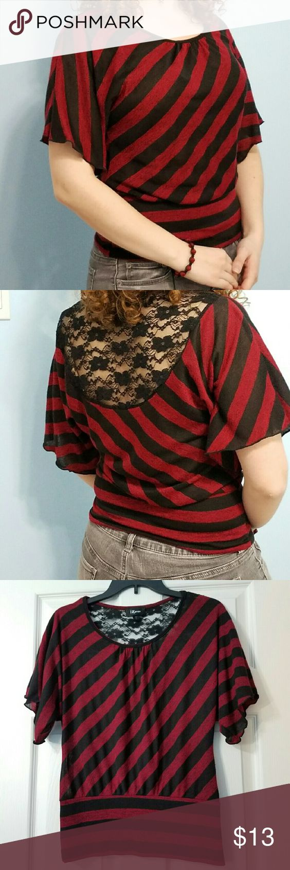Selling this IZ Byer Red and Black Striped Lace-Back Top on Poshmark! My username is: legend_abend. #shopmycloset #poshmark #fashion #shopping #style #forsale #Iz Byer #Tops