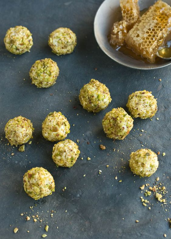 Goats cheese truffles with honey and pistachio. The perfect memorial day appetizer?