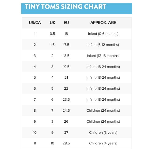 Infant Toms Size Chart In 2020 Baby Shoe Size Chart Chart Baby Shoe Sizes