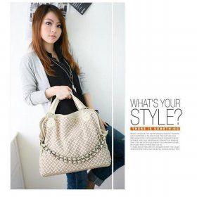 Tas Korea Jepang Fashion Style Wanita Pu Leather Warna Beige