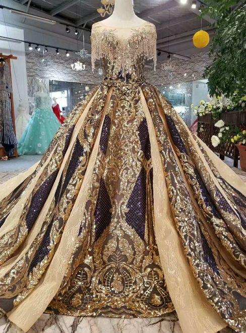 Gold Ball Gown Sequins Cap Sleeve Backless Wedding Dress With Train Vestidos Glamourosos Vestidos Vitorianos Belos Vestidos