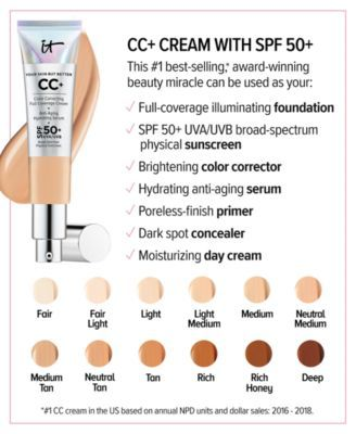 It Cosmetics Cc Cream With Spf 50 Reviews Shop All Brands Beauty Macy S It Cosmetics Cc Cream Cc Cream Face Sunscreen