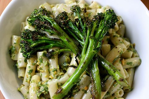 Pistachio Arugula Pesto with Penne and Sauteed Broccolini