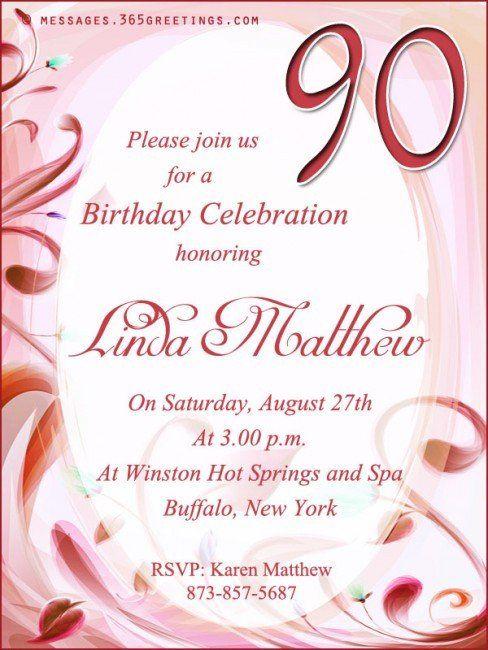 Grandparents Day Invitation Template 90th Birthday Invitation Wording 365gr 90th Birthday Invitations Birthday Invitation Templates Birthday Invitation Message