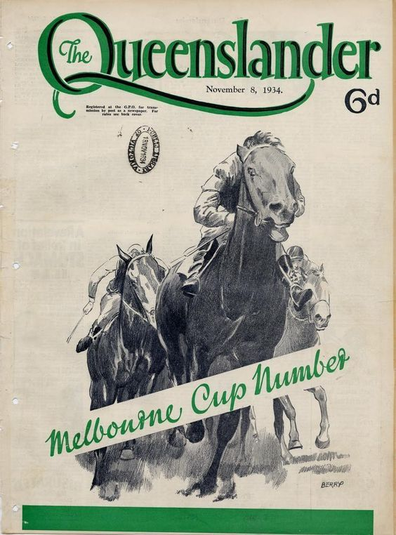 https://flic.kr/p/ax4Jge | Illustrated front cover from The Queenslander, November 8, 1934 | Creator: Berry  Location: Queensland, Australia  Description: Caption: Melbourne Cup number. Drawing of racehorses. The Melbourne Cup is Australia's major thoroughbred horse race.   View this page at the State Library of Queensland hdl.handle.net/10462/deriv/225274 Information about State Library of Queensland's collection: pictureqld.slq.qld.gov.au/