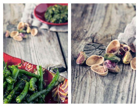Green Beans with Pistachio Pesto - TheMessyBaker.com
