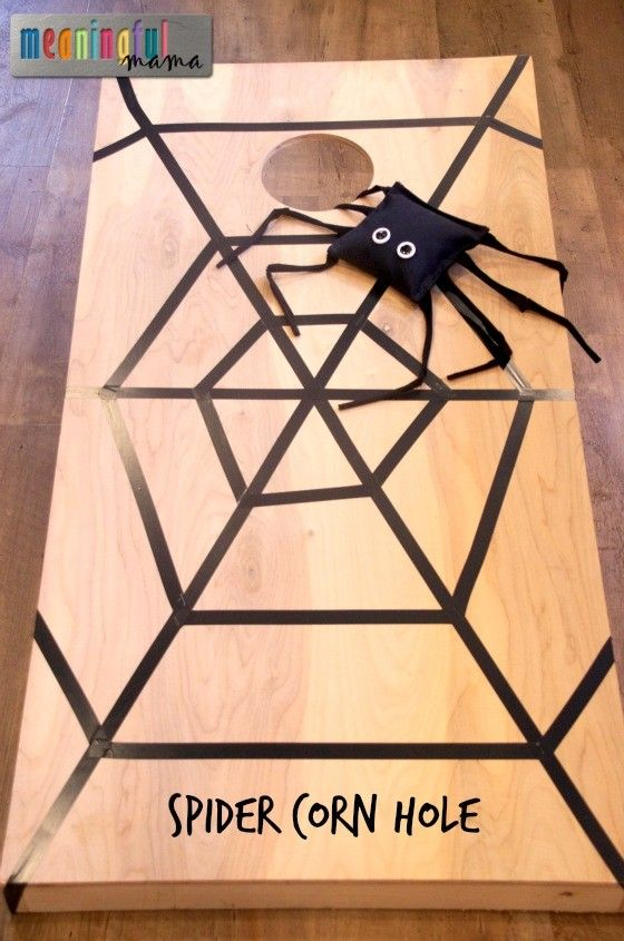 Spider Corn Hole Game - Idea for Halloween or Harvest Party