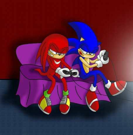 Art knuckles and sonic play game