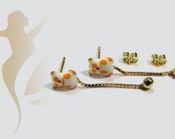 GERK014 Real Gold Teddy Earrings