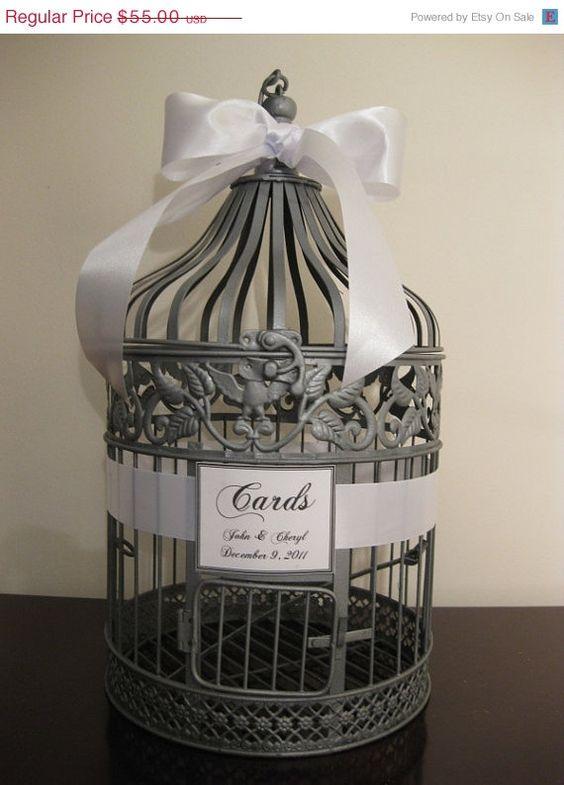 Silver Wedding Card Box / Round / Bird Cage Card Holder / Large via Etsy