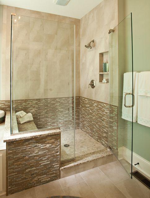 Modern walk in shower inside the new custom model home by for New model bathroom design