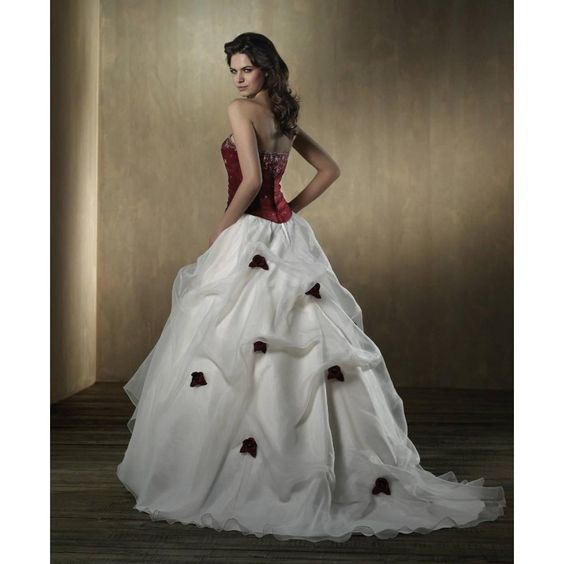 Cheap Red and White Wedding Dresses Strapless White Color Wedding ...