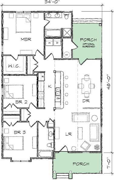 Plan 10035tt narrow lot bungalow house plan house plans for Bungalow house plans for narrow lots