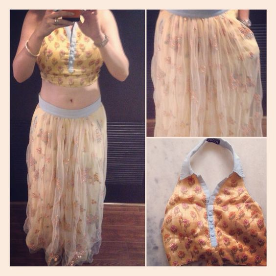 This is from the Kain AW 15 collection; an embroidered net lehenga or we can just call it a maxi skirt, with chambray trimmings. To match is a halter-neck knotted-to-the-back crop top made of silk, also with chambray trimmings. I wore this to a mehendi function, but really you could just as easily wear them separately. The halter-neck top is super versatile, and a great way of showing off a toned back.