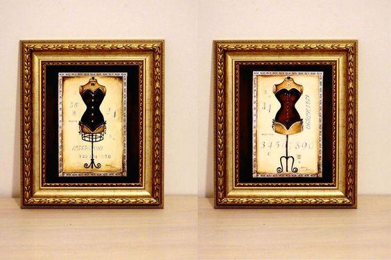 Dueto de quadros vintage Manequin - R$65