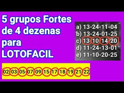 5 Grupos Fortes De 4 Dezenas Para Lotofacil Validos Para