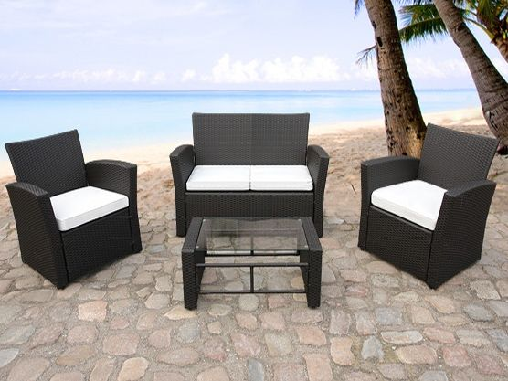 rattan gartenmöbel von beliani® - lounge inkl. kissen - model, Garten und Bauen
