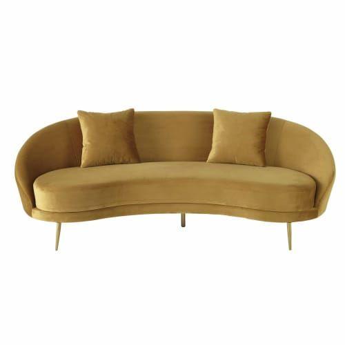 Canape Vintage 3 4 Places En Velours Jaune Canape Vintage Fauteuil En Velours Vert Chaise Style Scandinave