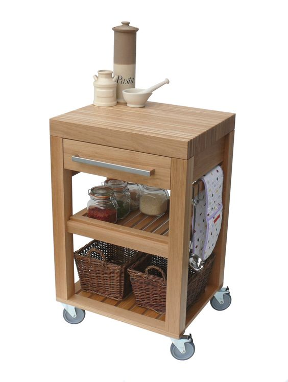 kitchen trolley butchers block trolley solid oak