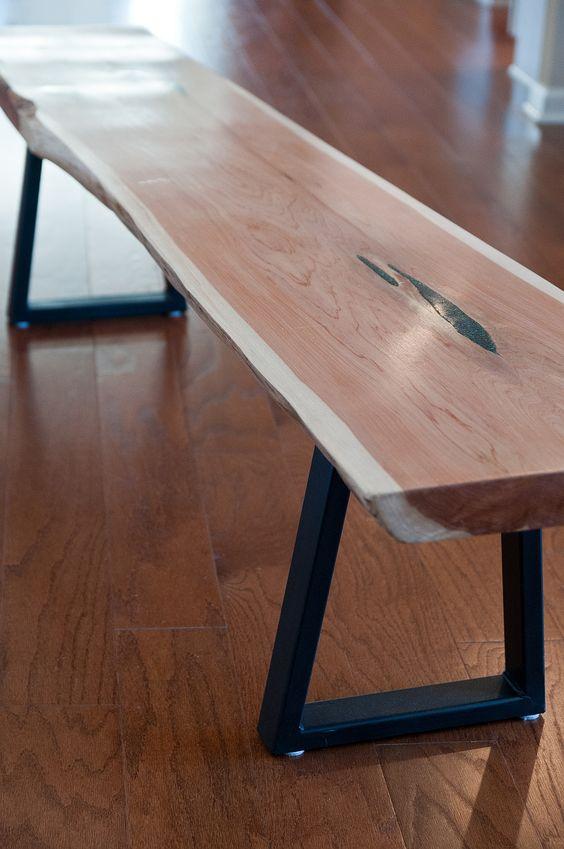 Cedar slab with malachite/azurite inlay on black metal legs.