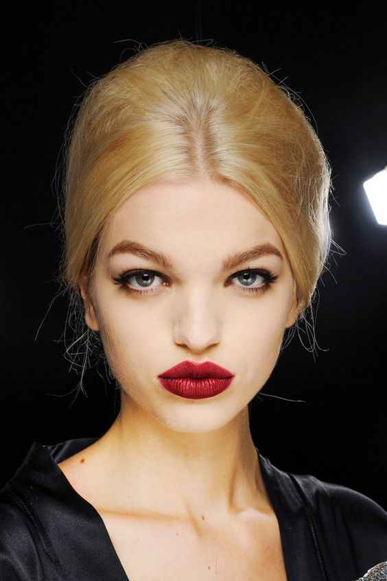 Daphne Groeneveld backstage at Dolce & Gabbana, Fall 2013. #RedLips