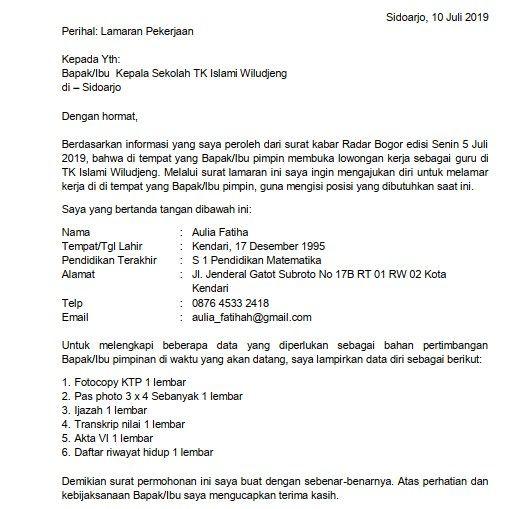 2 Contoh Surat Lamaran Kerja Guru Tk Berdasarkan Informasi Dari Koran Kepala Sekolah Guru Pimpinan