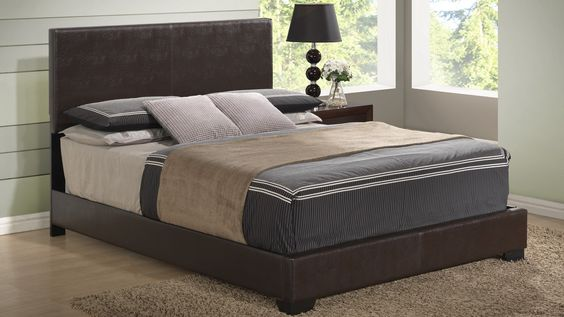 Global 8103-BR Bed - Pu leather bed. Brown modern bed.
