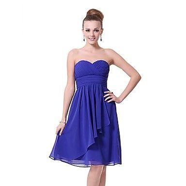 Zafiro Azul cariño escote sin tirantes vestido siempre de las mujeres bonitas – USD $ 39.99