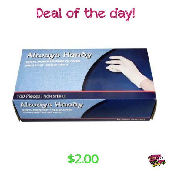 Deal of the day! Always, Handy Vinyl Powder Free Gloves, Medium Size, 100 Count.  $2.00