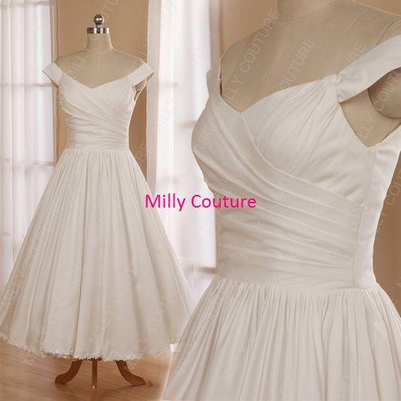 Reiner Baumwolle ab Schulter inspiriert 1950er Jahre Hochzeit Kleid, Vintage Baumwolle Brautkleid, Tee Länge Brautkleid 1950 Kleid Rockabil Hochzeit,