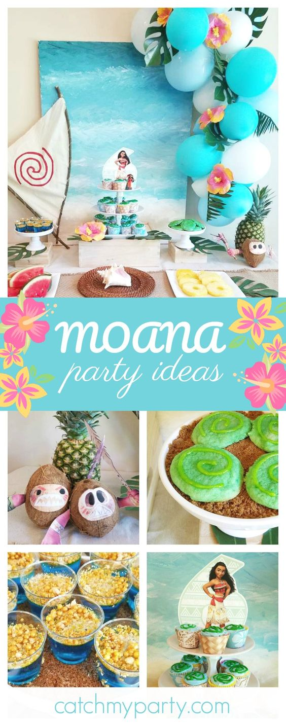 Don't miss this gorgeous Tropical Moana birthday party. The dessert table is so beautiful!! See more party ideas and share yours at CatchMyParty.com