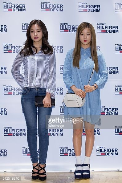 Son Na-Eun and Park Cho-Rong of South Korean girl group APink attend the Tommy Hilfiger 2016 S/S Presentation on February 23, 2016 in Seoul, South Korea.