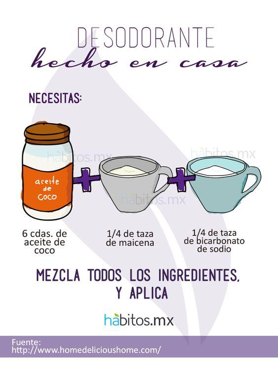 =desodorante hecho en casa= Aceite de coco + maicena + bicarbonato