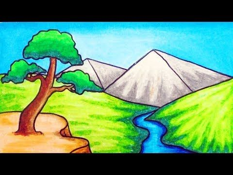 How To Draw Easy Scenery Youtube Easy Drawings Scenery