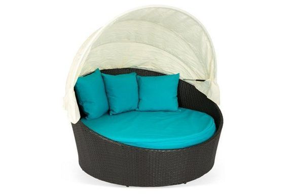 Siesta Canopy Bed, Espresso/Turquoise