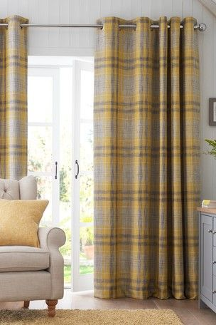 Astley Check Eyelet Lined Curtains Yellow Curtains Living Room Living Room Grey Mustard Living Rooms