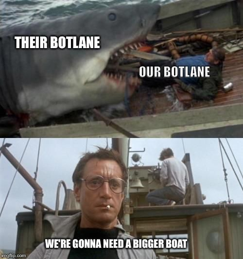 When Botlane Won T Stop Feeding Https Ift Tt 2eqxyx9 Check Out Mystikz Gaming Https Ift Tt 2tvnfmj League Of Legends Memes Bigger Boat League Of Legends