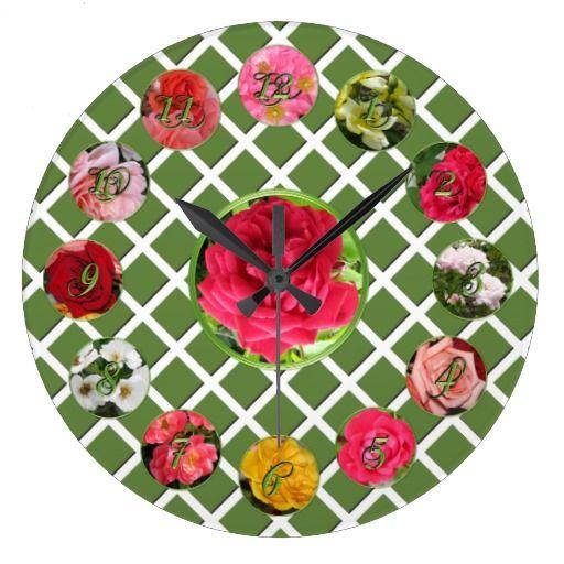 Rose Garden Round Wall Clock #zazzle #wallclocks #roses #garden #rosegarden #clock