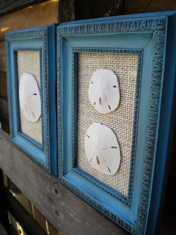 Cottage Chic Sand Dollar Wall Art, Sea Shell Art, Sea Shells Home Decor, Coastal Decor, TURQUOISE BLUE