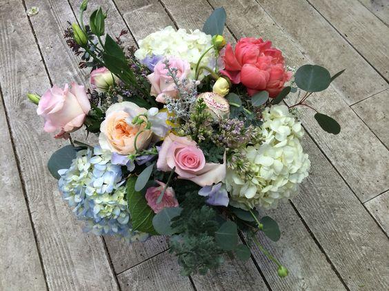Hydrangeas and roses