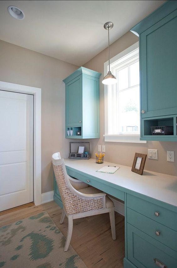 "Home Office | Paint Color. The paint color on the cabinets is ""Stratton Blue HC 142 by Benjamin Moore"". #BenjaminMoore #PaintColor"
