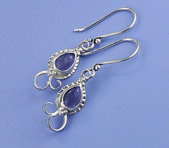 Iolite Earrings Violet Blue Earrings Filigree by BOBOJewelryShop