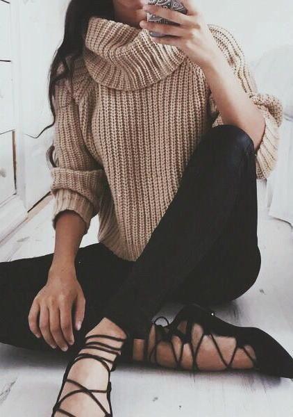 Nude sweater + black pants.: