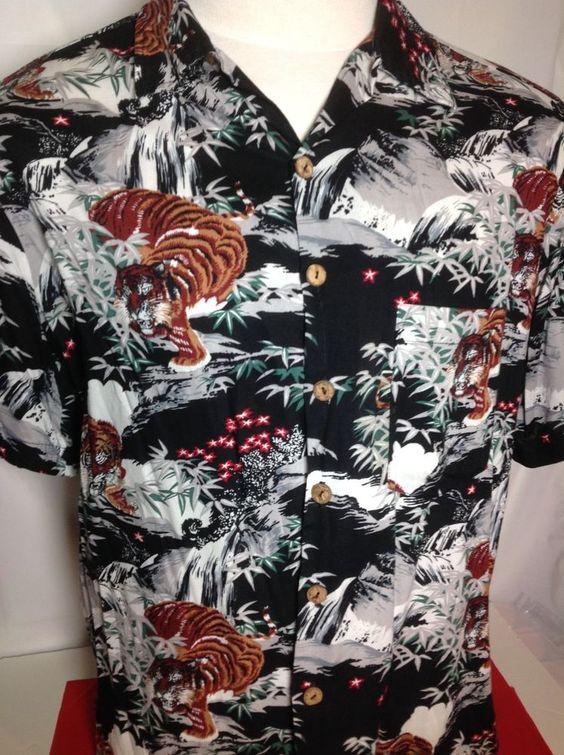 Mens kennington hawaiian shirt tiger print large fantastic for Lsu hawaiian print shirts