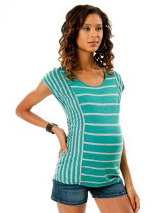 Short Sleeve Scoop Neck Wedge Maternity T Shirt