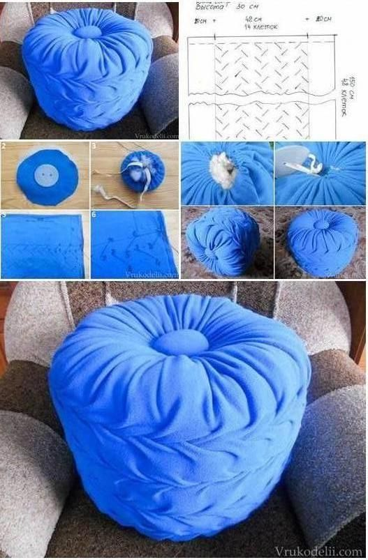 How to make living room floor pillow puff step by step diy for Do it yourself living room ideas