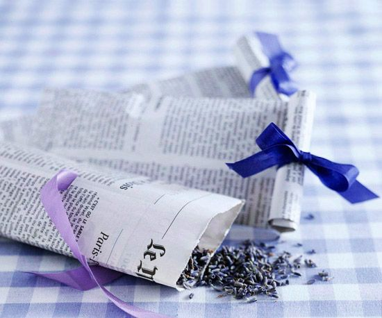 Create French Newspaper Confetti Bags and fill with fragrant lavander.