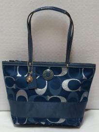 FREE SHIP - NWT! COACH Signature Authentic Stripe 3 Color Metallic Tote Shoulder Bag F20429