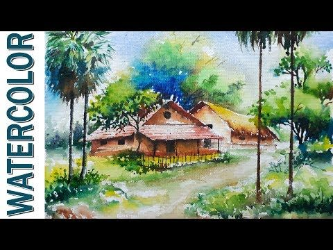 Watercolor Painting For Beginners Village Landscape On Hand Made Paper Youtube Watercolor Landscape Landscape Paintings Painting
