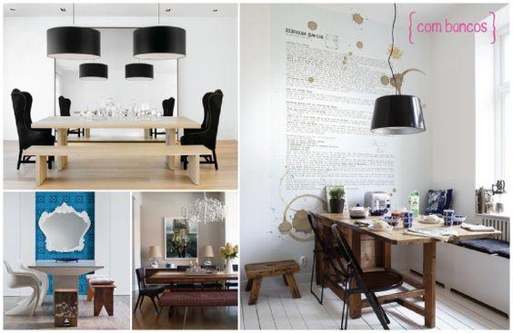 Inspiração sala de jantar #jantar #mesa #diningroom #bancos
